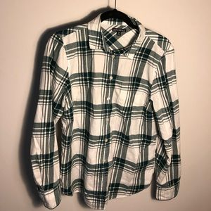 JCREW Green and White plaid Flannel.